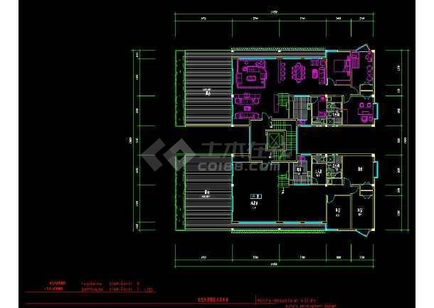 深圳某住宅区别墅建筑设计cad方案图纸-图3