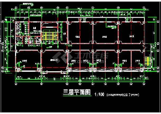 某市消防队办公指挥楼建筑cad施工设计图纸-图1