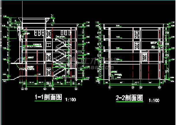 某市消防队办公指挥楼建筑cad施工设计图纸-图2