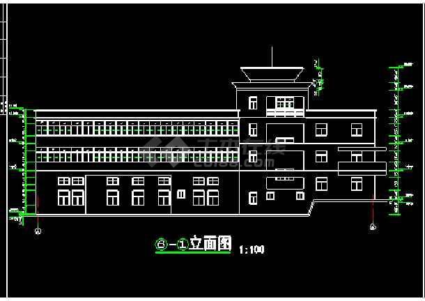 某市消防队办公指挥楼建筑cad施工设计图纸-图3