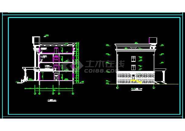 经典四层办公楼cad施工图效果图-图1