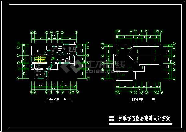 某地多层小型别墅建筑CAD施工图-图1
