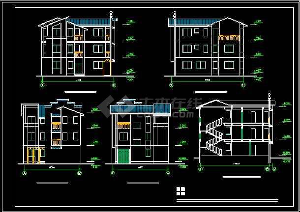 某地多层小型别墅建筑CAD施工图-图2