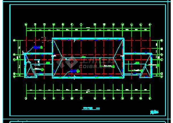 经典四层办公楼cad建筑施工图(顶层含坡屋顶)-图2