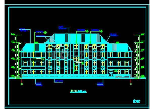 经典四层办公楼cad建筑施工图(顶层含坡屋顶)-图3