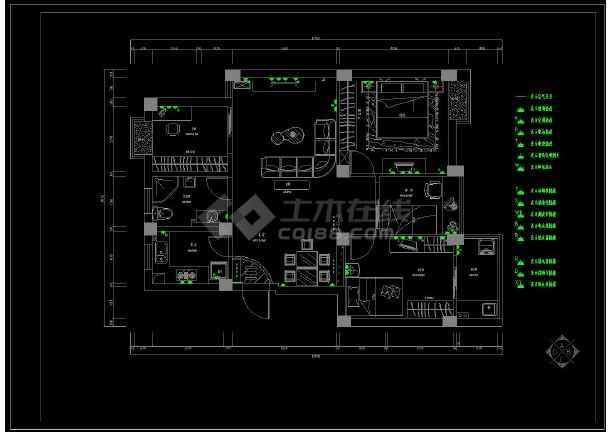 某大三v平面宅室内装修设计cad平面图纸图纸阳极板图片