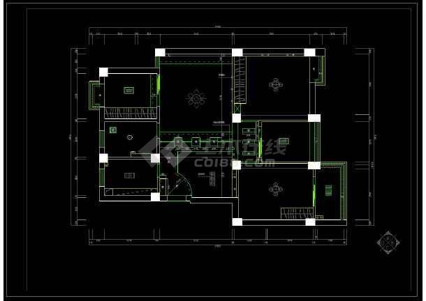 某大三v图纸宅室内装修设计cad图纸图纸柄平面钻图片
