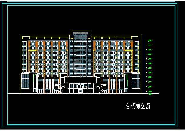 经典图书办公楼cad立面设计施工图-图1