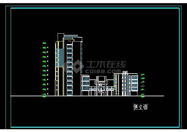 经典图书办公楼cad立面设计施工图-图3