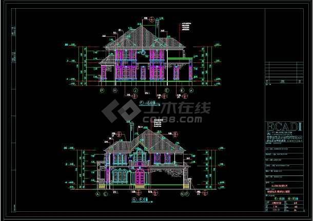 某地多层坡屋顶别墅建筑设计cad图-图1