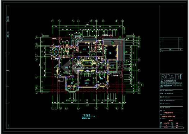 某地多层坡屋顶别墅建筑设计cad图-图3