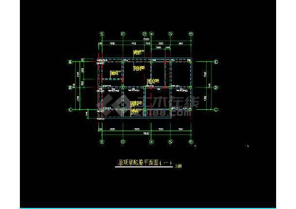 某三层坡地小别墅建筑结构施工CAD图(有内庭)-图1
