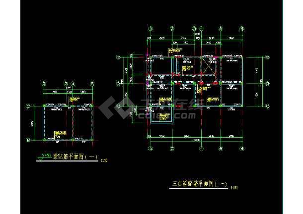 某三层坡地小别墅建筑结构施工CAD图(有内庭)-图3