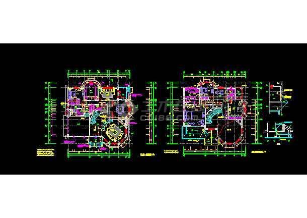 钢结构别墅建筑cad平立面设计图-图1