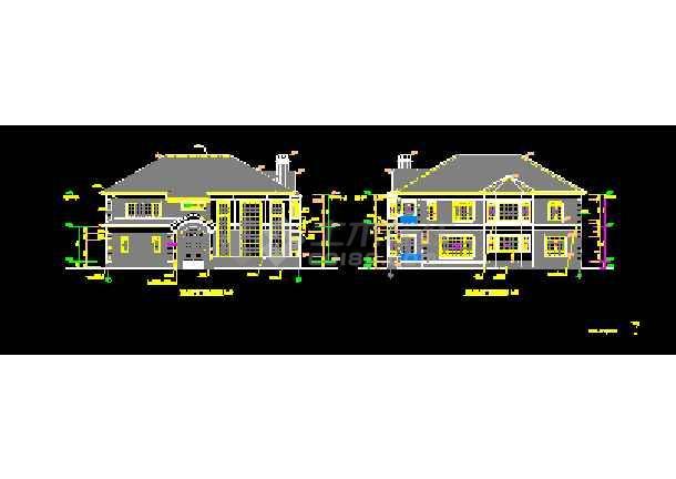 钢结构别墅建筑cad平立面设计图-图2