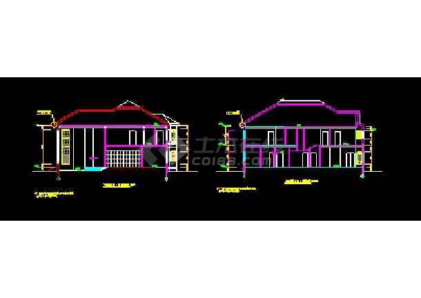 钢结构别墅建筑cad平立面设计图-图3
