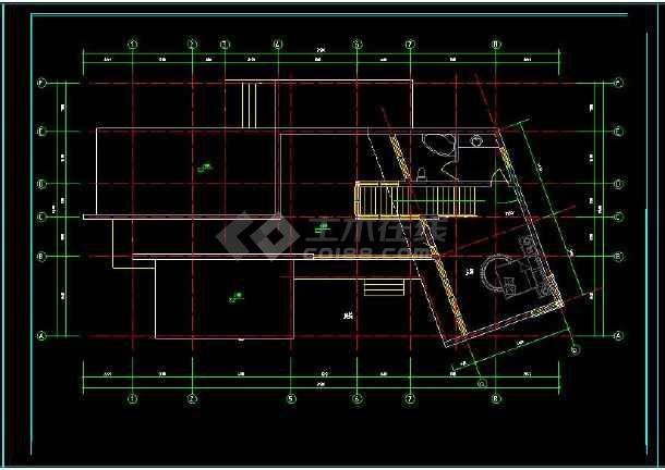 某地多层现代别墅建筑设计cad方案图-图3