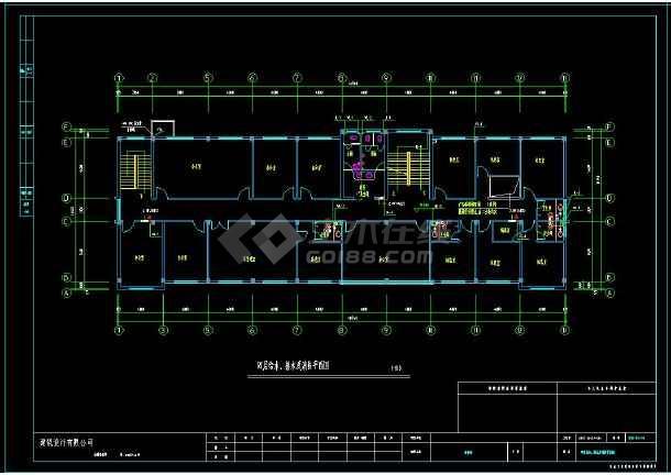 综合办公楼建筑给排水全套cad设计图(含设计说明)-图3