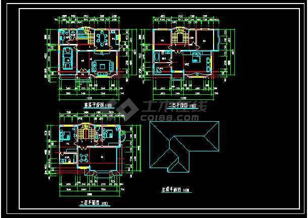 某地多层经典现代风格别墅建筑设计cad图-图1