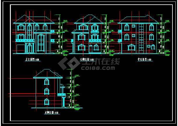某地多层经典现代风格别墅建筑设计cad图-图2