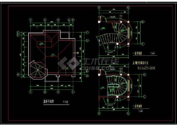 某地小别墅建筑建筑设计cad图附带效果图-图1