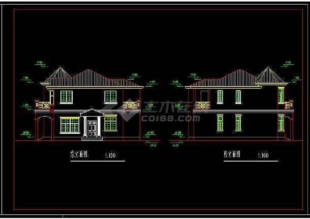 某地小别墅建筑建筑设计cad图附带效果图-图3