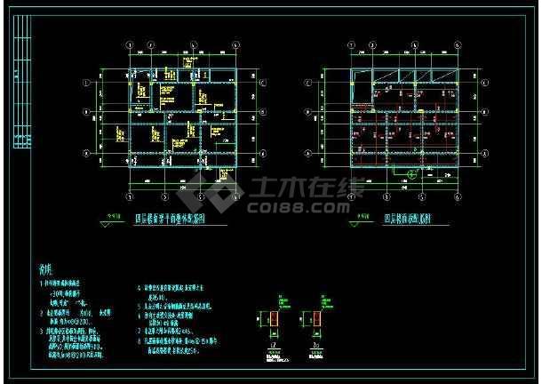 某地多层小别墅建筑设计cad结构施工图(含设计说明)-图3