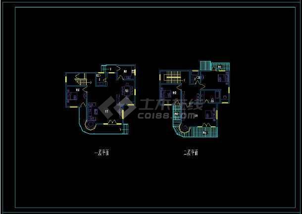 某地大型住宅区别墅建筑设计cad户型图-图1