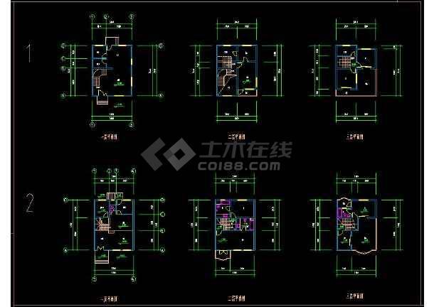 某地大型住宅区别墅建筑设计cad户型图-图3