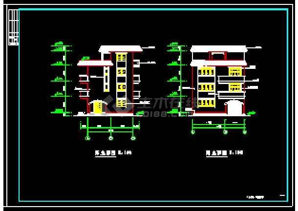 某地多层独立别墅经典建筑设计cad图-图3
