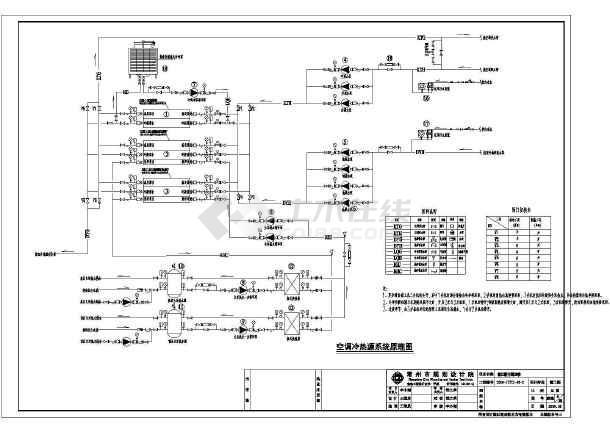 江苏某宾馆空调冷热源系统CAD原理图-图1