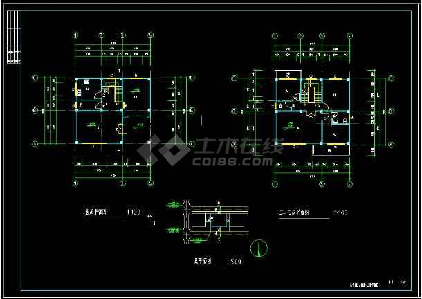 某地三层住宅别墅建筑设计cad施工图附带效果图-图1