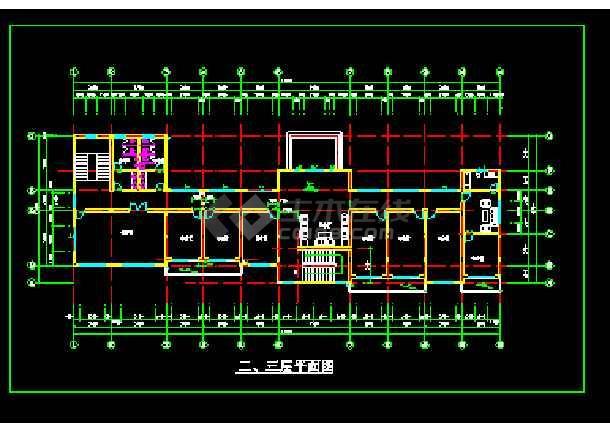 经典三层办公楼设计cad平立面施工图-图1