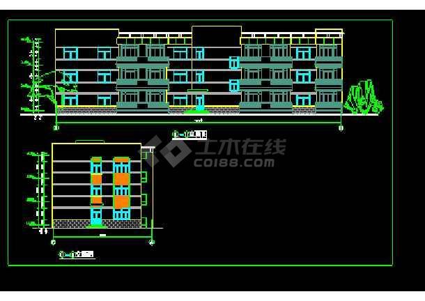 经典三层办公楼设计cad平立面施工图-图2