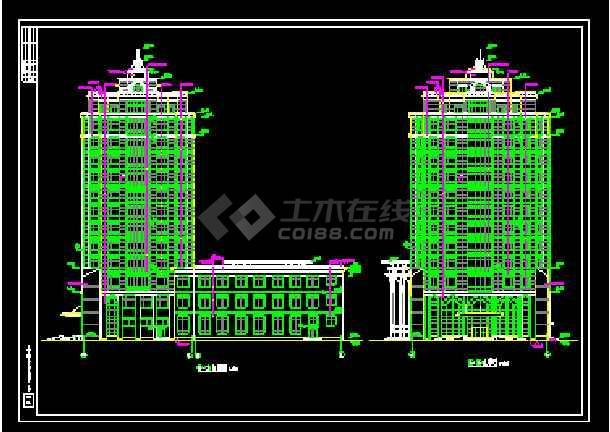 某总工会综合楼建筑cad施工设计图-图2