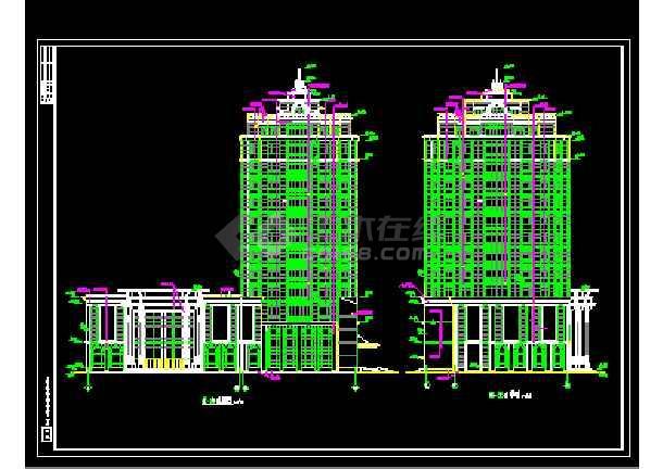 某总工会综合楼建筑cad施工设计图-图3