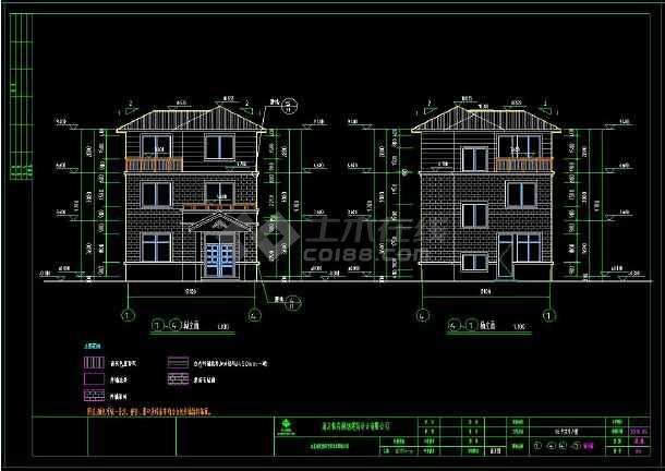小型农村三层带露台别墅建筑设计cad图(含设计说明)-图3