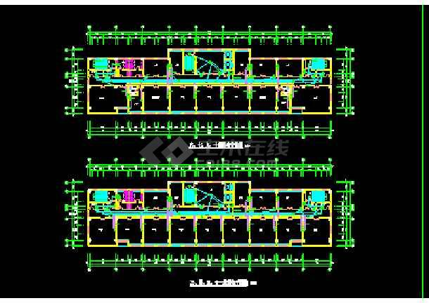 某市空港办公楼建筑cad平面施工方案图纸-图1