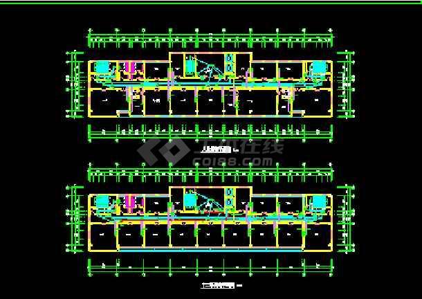 某市空港办公楼建筑cad平面施工方案图纸-图2