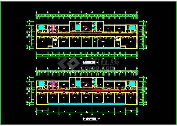 某市空港办公楼建筑cad平面施工方案图纸-图3