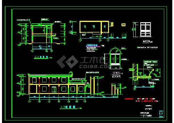 某培训中心大门cad平立面施工图-图1