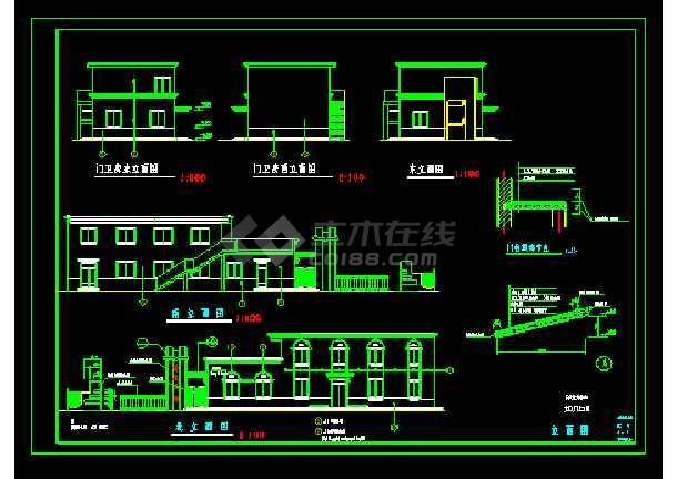某培训中心大门cad平立面施工图-图2