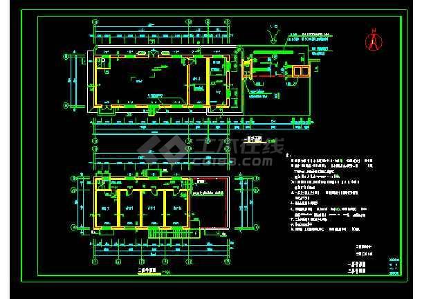 某培训中心大门cad平立面施工图-图3