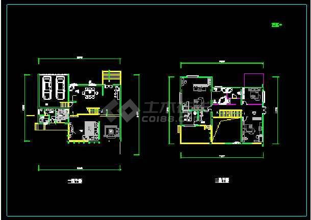 某多层现代风格经典别墅建筑设计CAD图-图2