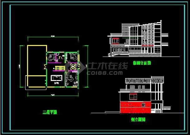 某多层现代风格经典别墅建筑设计CAD图-图3