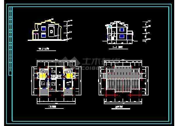 某地多层经典别墅建筑设计CAD图-图2