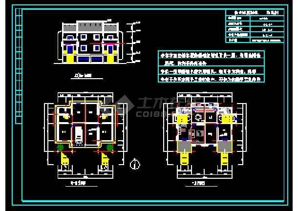 某地多层经典别墅建筑设计CAD图-图3
