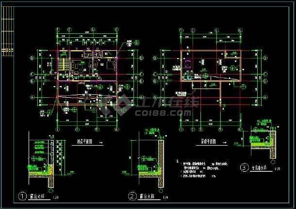 某地私人住宅别墅建筑设计cad方案图带效果图(含设计说明)-图2
