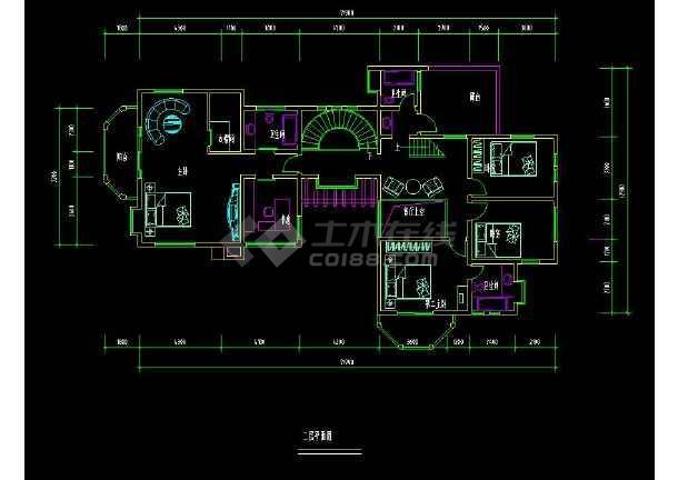 某地住宅项目之别墅建筑设计cad户型图-图2
