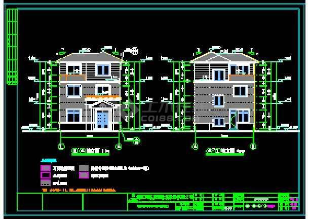 某地独立现代风格别墅建筑设计cad图-图3